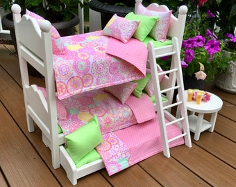American Girl Doll: Furniture, White Bunk beds with pink and mint green bedding