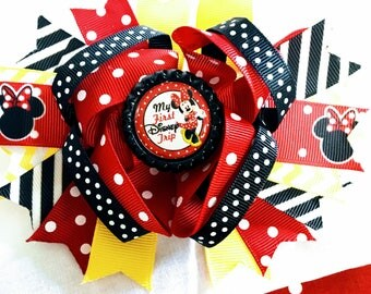 """Minnie Mouse My first disney trip 1st Inspired red blk polka dost Hair Bow Grossgrain Loopy Boutique Handmade 5"""" 18m  24M 2T 3 t 4 t 5 6 7 8"""