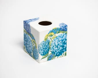 Blue Hydranga Tissue Box Cover wooden handmade in UK perfect in homes/ hotels