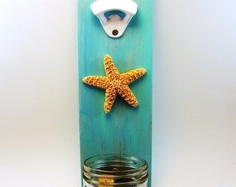 bottle opener wall mount starfish beach upcycled wood blue
