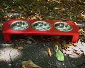 Two Gray Pet Feeders plus two extra pint bowls