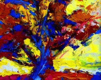 "Fine Art Giclee Print ""Oak Abstract"" From Original Tree Painting by Claire McElveen Signed"