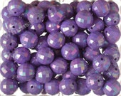 20mm - 10 PACK of Purple AB Faceted 20mm Gumball Beads, Chunky Acrylic Beads, 20mm Beads, Disco Ball Beads, Bubblegum Beads2mm Hole (R7-139)