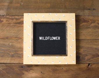 WILDFLOWER Pattern Letter Board - 13''x13'' -Felt - Changeable Plastic Letters.