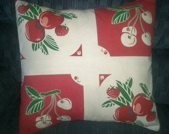 "14"" Square Pillow Cover Vintage Look Cherries and Apples Print"