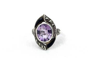 Art Deco Amethyst, Onyx & Marcasite Sterling Silver Ring