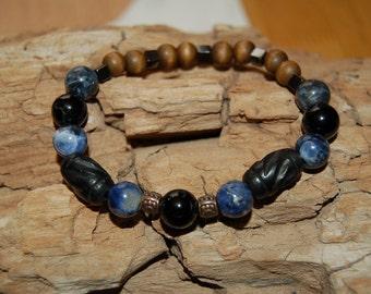 Mens Bracelet Black Tourmaline Sodalite Mala Bead Bracelet for Men Grounding Jewelry for Men Gift Ideas for Him