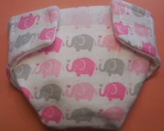 Doll diaper SIZE #2 READY to SHIP adjustable Baby Cloth pink and grey elephants fit cabbage patch bitty baby stuffed animals and more
