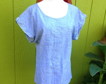Charlotte Ford-1980's Vintage 100% Cotton Chambray Top-Size: S