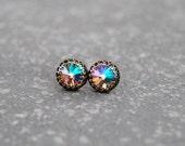 SALE Monet's Water Lily Pond Earrings Swarovski Crystal Pastel Rainbow Earrings Crown Victorian Studs Mashugana