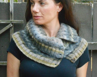 Button Up Cowl-Shoulder Cozy-Scarf