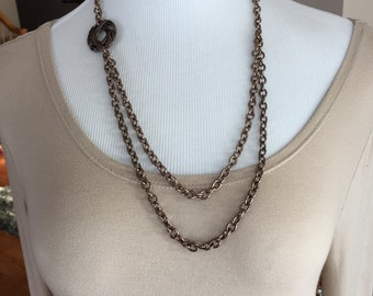 Multi chain brown chain necklace medium length