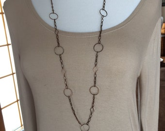 Antique copper chain necklace, fancy chain necklace in copper