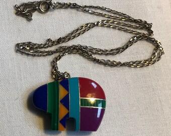 Sterling Silver Zuni Style Bear Necklace