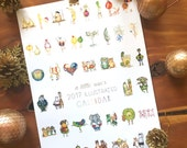 2017 Calendar - Illustrated calendar of animals + vegetables - wall calendar, desk calendar, 12 months, monthly calendar, christmas gift