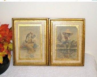 """2 Florentine Wooden Plaques / Vintage Girl and Boy Prints / Gold Gilt / 5 7/8"""" X 7 3/4"""" / Made In Italy / Torn Corner / Child's Room Decor"""