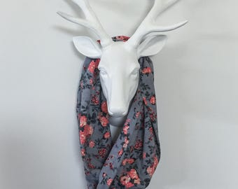 Infinity Scarf - Gray & Peach Floral - Cotton Jersey Blend Knit