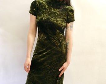 Vintage 90s Velvet Maxi Moss Green Tie Dye Velvet Dress