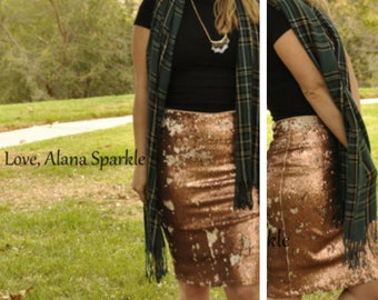 Small/Large Brown Pencil Sequin Skirt - Stretchy, beautiful knee length skirt (S,M,L,XL) Made in LA!