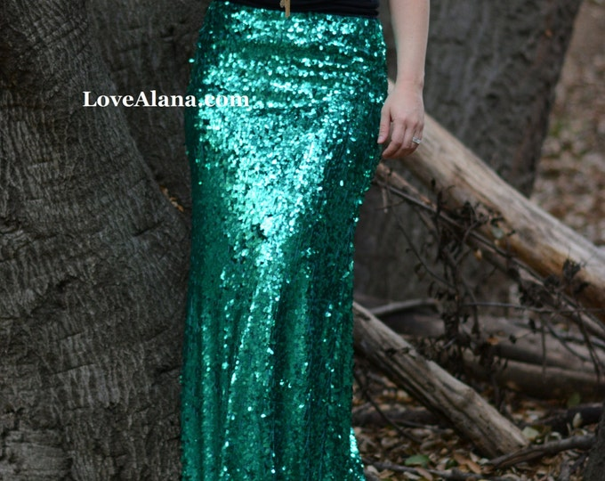 Emerald Maxi Mermaid Skirt- Gorgeous high quality sequins- Long sequined skirt -Custom or S, M, L, XL