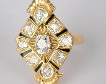 On Sale Victorian 18kt Mine Cut Diamond Ring with Black Onyx