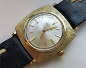 Lucien Piccard Watch Gold Filled with Rare Black and White Leather Band