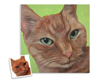 custom cat portrait personalized pet painting on canvas acrylic 14x14