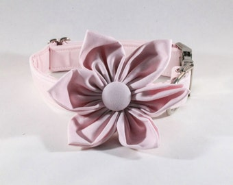 Preppy Pink Oxford Girl Dog Flower Bow Tie Collar