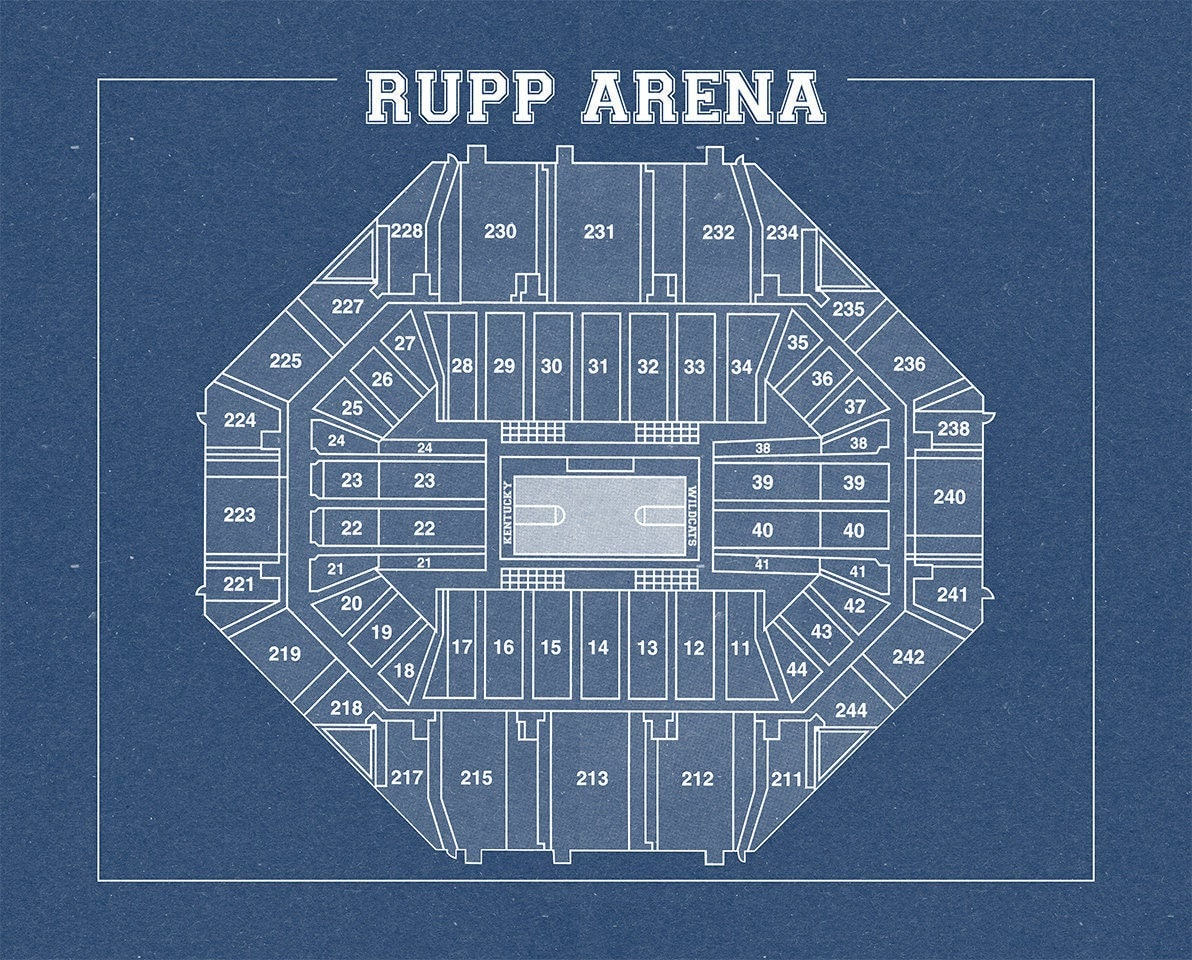 Vintage print of rupp arena seating chart on photo paper for 12x15 calculator