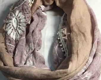 Nemesis Antique Vintage Styled Lace Print Sheer Ivory Infinity Scarf Shawl