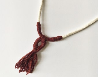 maroon tassel necklace // cotton rope + recycled wool tassel // ready to ship // handmade in detroit