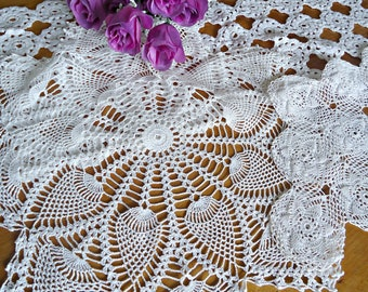 3 Crocheted Doilies Crocheted Doily White Vintage Doilys Doilies  Lot  F14