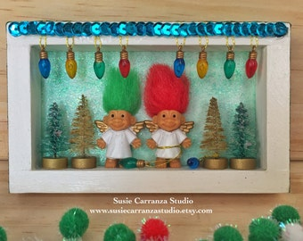 Troll Angels Holiday - small wood diorama. Red and green haired troll doll angels, mini trees, Christmas lights. White and green.
