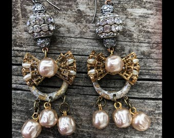 Repurposed MIRIAM HasKELL Glass Pearl Baroque Earrings. Genuine Vintage French Rhinestone & Bow Components. Faux Finished Brass Rings.OOAK