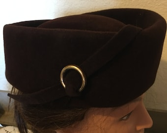 Vintage Merrimac Imported Fur Hat ~ Peachbloom Velour ~ Stylish 50's ~ Deep Chocolate Brown ~ Retro Made in the USA