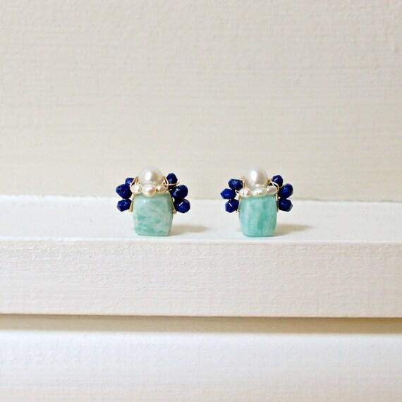 Cube stud earrings - Small amazonite & lapis lazuli gemstone