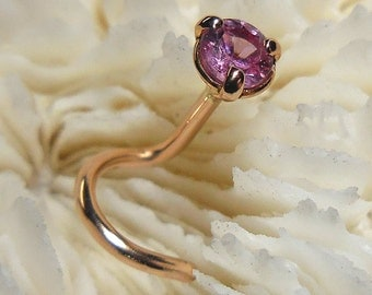 PINK SAPPHIRE, 18K Rose Gold, 3mm, rose gold nose jewelry, rose gold, nose jewelry, sapphire nose jewelry, nose stud, ready to ship