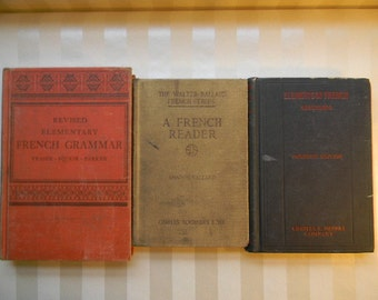 3 Antique School Books, FRENCH, 1915, 1930, 1942