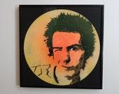 Limited Edition Sid Vicious spray paint stencil art on vinyl record
