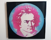 Limited Edition Beethoven spray paint stencil art on reclaimed vinyl record