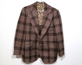 Vintage 1970s Brown Plaid Poly Sport Coat blazer suit coat Sportcoat Single breasted. Montgomery Wards 70s retro sport coat 40R