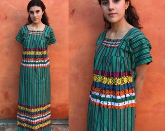 Vintage 1970s Ethnic Woven Embroidered Maxi Dress. Guatemalan maxi dress. Oaxacan Mexican boho hippie festival dress. gypsy xs small medium