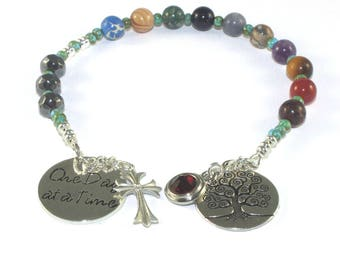 Pocket Rosary Prayer Beads, Birthstone Crystal,  One Day At A Time, Tree of Life