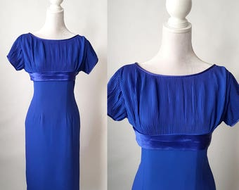 Vintage 1950s Royal Blue Crepe Pleated Chiffon Dress