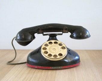 Vintage Black Toy Rotary Telephone