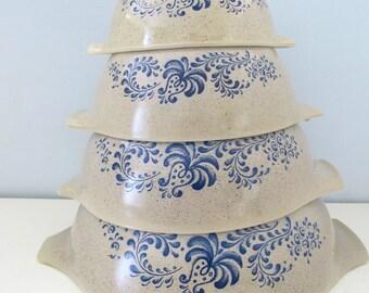 Complete Vintage Set of 4 Pyrex Blue Homestead Cinderella Nesting Mixing Bowls
