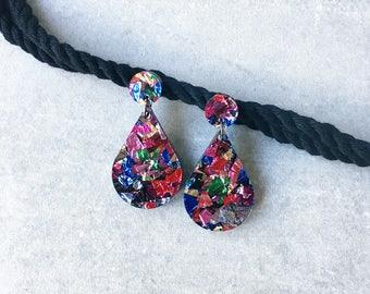 Laser cut glitter acrylic earrings - kookinuts 'Down to Party' - Harlequin multicolour drop earrings - made in Australia