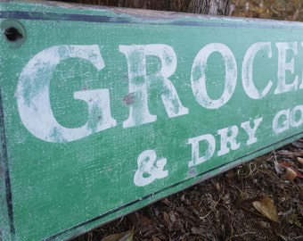Personalized Groceries and Dry Goods Kitchen Wood Sign Hand Crafted - Rustic Antique Wooden Style