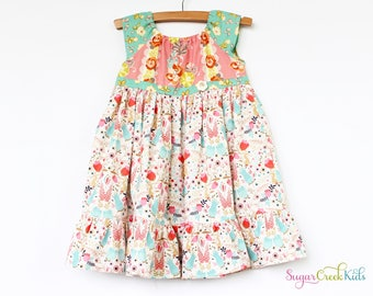 SALE!  Bunny Patch Girl's Dress, Vintage Style Girl's Dress. Sizes: 12mo, 2T, 3/4T, 5/6, 7/8