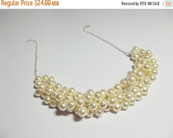 30% OFF SALE thru 2-28 Cream Pearl Cluster Necklace, Wedding Jewelry, Bridesmaid Necklace, Christmas Gift, Mom Sister Grandmother Jewelry Gi